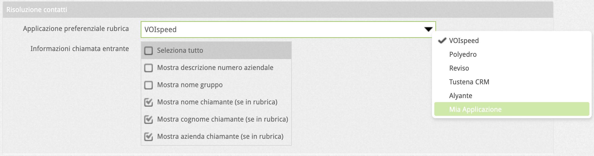 Configurazione risoluzione contatti utente